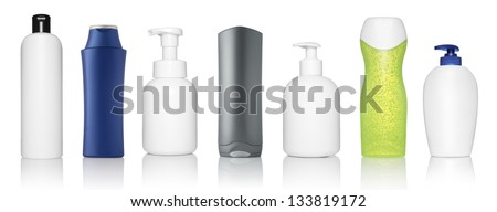 Set of different white, gray, green, blue bottles for beauty, hygiene and health on a white background with reflection, they shampoo, conditioner and hair products, each of them shot on separately.