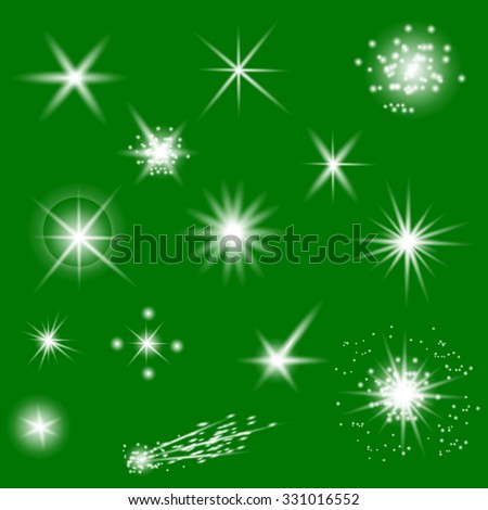 Set of Different White Lights Isolated on Green Background - stock photo