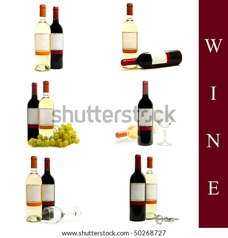 set of different wine images over white background - stock photo