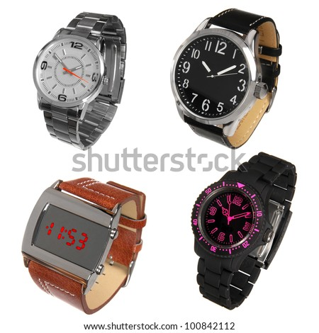 set of different wrist watches isolated on white - stock photo