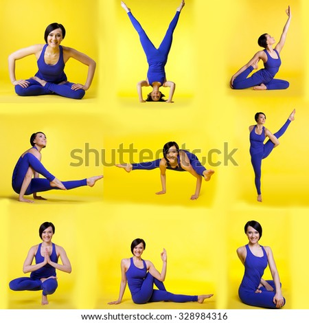 Set of different yoga poses by happy young woman