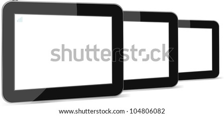 Set of digital tablet pc with blank screen isolated on white. raster