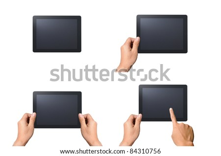 Set of digital tablet pc with man hands. Isolated on white - stock photo