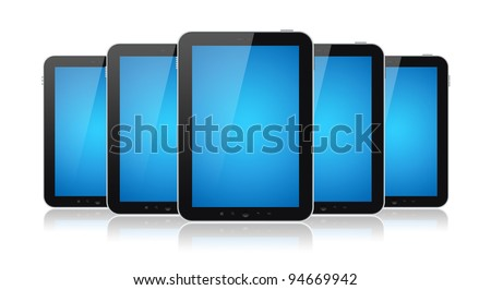 Set of digital tablets with blank blue screen isolated on white. - stock photo