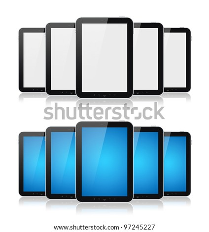 Set of digital tablets with blank screen isolated on white. - stock photo