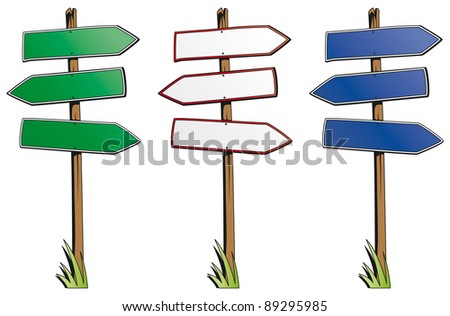 Set of direction signs isolated on white background - raster version - stock photo