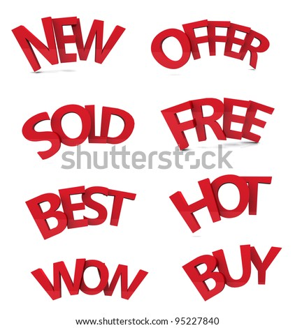 set of discount text 3d isolated over white background. (3D RENDER)