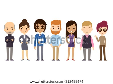 Set of diverse business people isolated on white background. Different nationalities and dress styles. Cute and simple flat cartoon style. - stock photo