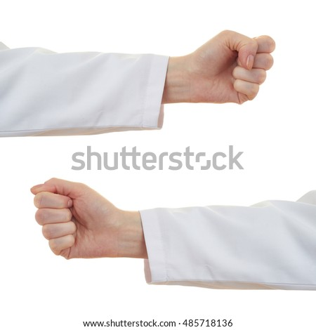 Set of doctor female hand gestures over white isolated background