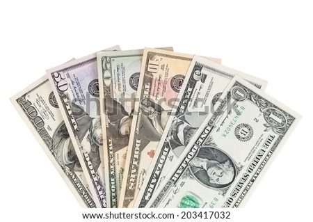 Set of dollar banknotes on white background on white background with clipping path - stock photo