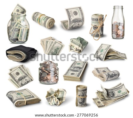 Set of dollar bills isolated on white background  - stock photo