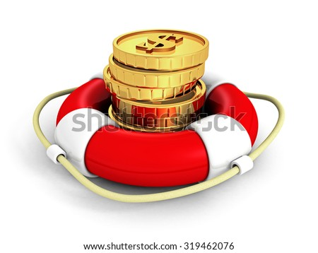 Set Of Dollar Currency Coins In Red Lifebuoy. 3d Render Illustration