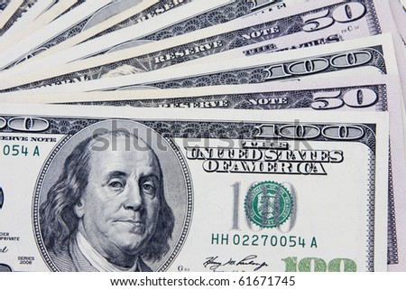 Set of dollars as background