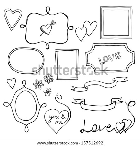 Set of doodle frames and elements for Valentine's Day - stock photo