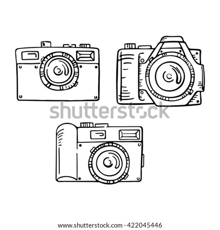 Set of doodle photo cameras. Hand draw illustration. Sketch lines. - stock photo