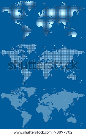 Set of Dotted (Circular Pixel) World Maps. Rasterized Version - stock photo