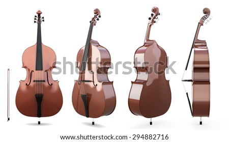 Set of double bass on a white background. 3d illustration. Music instruments. - stock photo