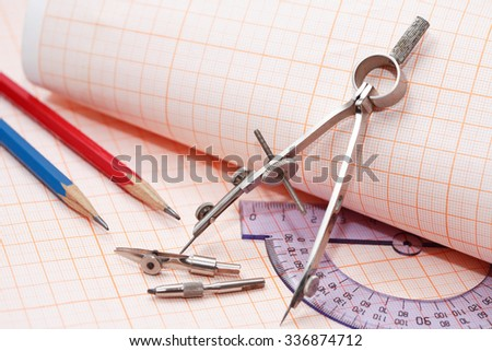 Set of drawing instrument and rulers on graph paper