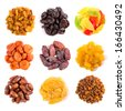 Set of dried fruits isolated on white top view - stock