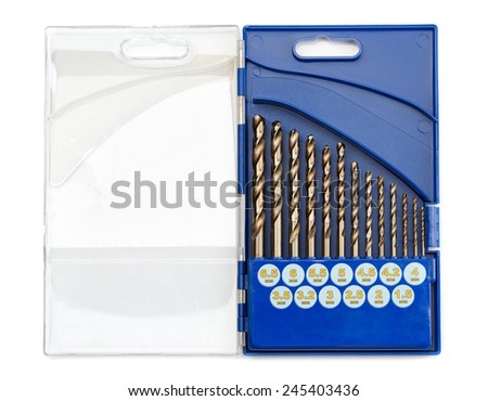 set of drill bits for metal in a blue plastic case. Isolate on white. - stock photo