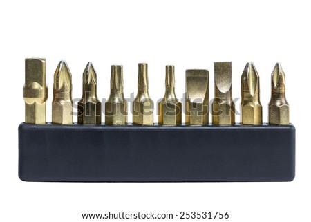 Set of drill bits in a black holder, isolated on white background - stock photo