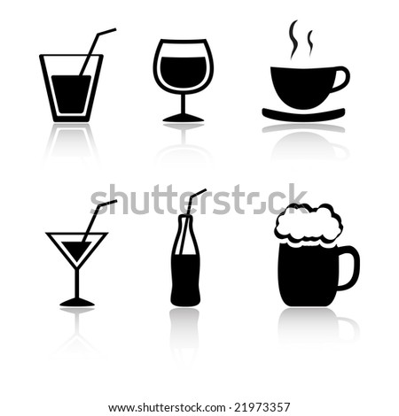 Set of 6 drink icon variations