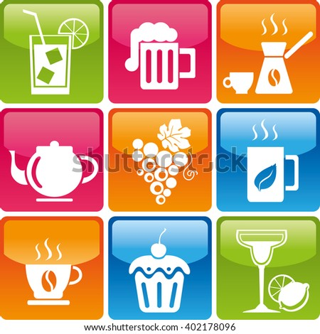 Set of drinks and food icons: cocktail, beer, coffee, tea, grapes, cup, cake, candy, sweets, mojitos, margaritas. Food and drink icons jpg. Food and drink organic. Food and drink Logo set - stock photo