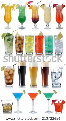 Set of drinks, cocktails, cola, beer, water and Whisky isolated on a white background