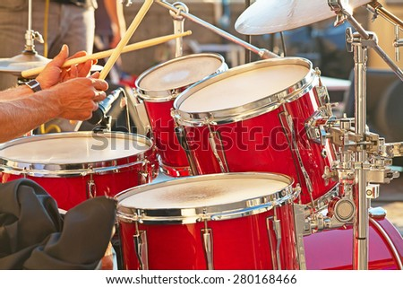 Set of drums on the open air concert - stock photo