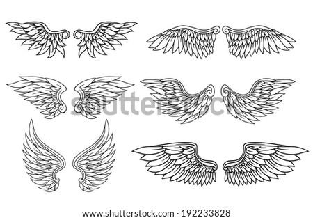 set eagle angel wings heraldry tattoo stock illustration 192233828