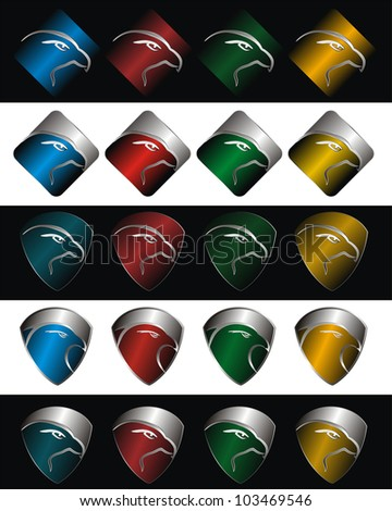 set of eagle or falcon icons on colorful shields