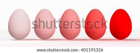 Set of Easter eggs on white background. 3D rendering