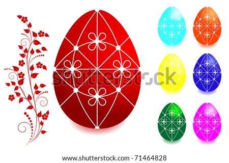 Set of Easter eggs with floral ornaments.The similar image in my portfolio in vector format.