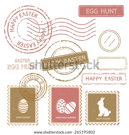 Set of Easter postal stamps. Retro style.
