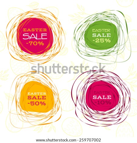 Set of Easter sale abstract frames. Raster version - stock photo