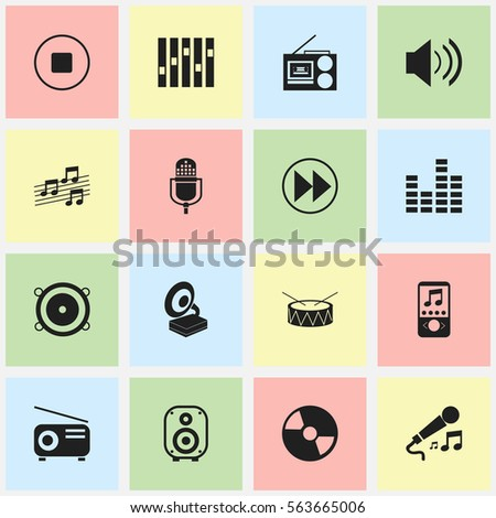 Set Of 16 Editable Multimedia Icons. Includes Symbols Such As Sound, Snare, Musical Sign And More. Can Be Used For Web, Mobile, UI And Infographic Design.