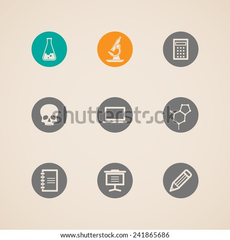set of education and science icons  - stock photo