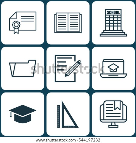 Set Of 9 Education Icons. Includes Paper, Opened Book, Document Case And Other Symbols. Beautiful Design Elements.