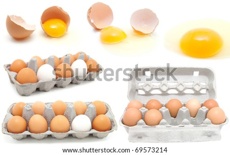 set of eggs on a white background. egg is broken. - stock photo
