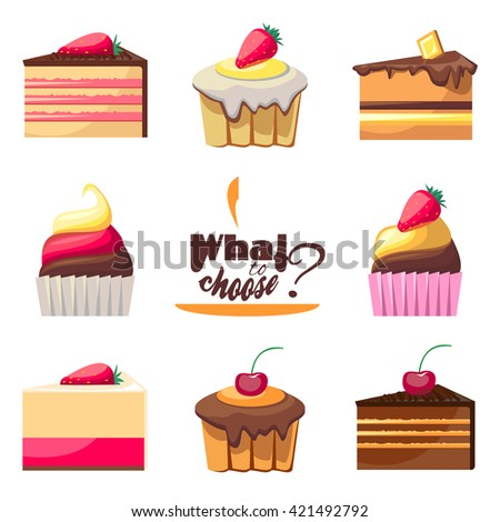 Set of eight delicious biscuits. Yummy cupcakes, donuts and muffins. Can be used for a dessert menu. Collection of bakery products. Take a sweet break. Have a snack. Assorted confectionery.  - stock photo