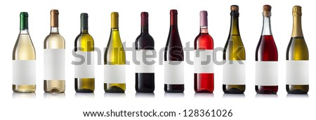 Set of eight different wine bottles with labels on a white background with reflection isolated. - stock photo