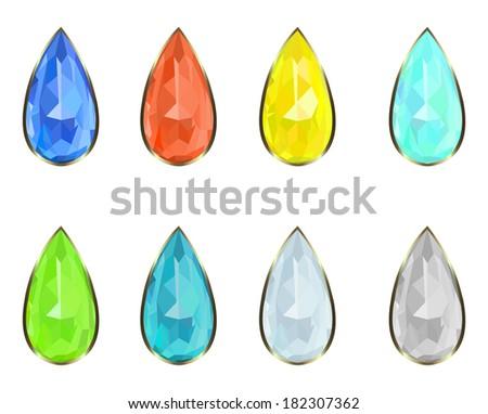 set of eight precious stones rim in gold - stock photo