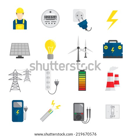 Set of electricity energy accumulator icons in flat style  illustration - stock photo