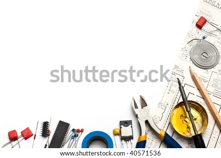 Set of electronic tools components and scheme on white background
