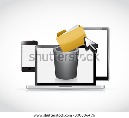 set of electronics and trash bin for content, illustration design graphic - stock photo