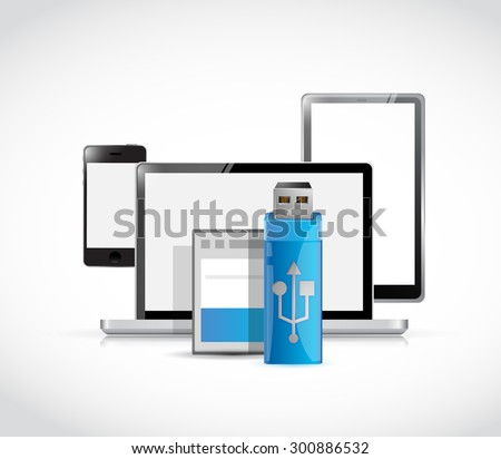 set of electronics and usb and memory card illustration design graphic - stock photo