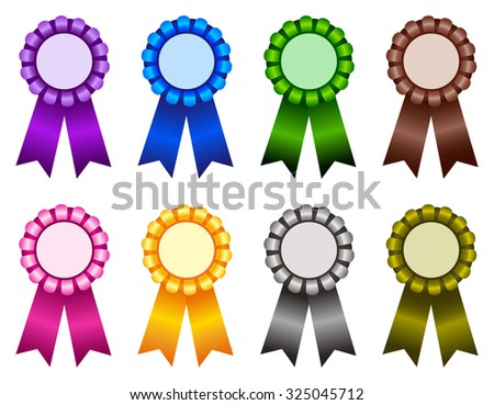 Set of elegant blank award ribbon rosettes in shiny purple blue green brown pink yellow gray colors isolated on white background - stock photo