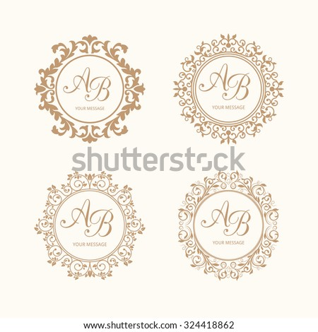 Set of elegant floral monogram design templates for one or two letters . Wedding monogram. Calligraphic elegant ornament. Business sign, monogram identity for restaurant, boutique, heraldic, jewelry. - stock photo