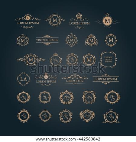 Set of elegant floral monograms and borders. Design templates for invitations, menus, labels. Wedding monograms. Monogram identity for restaurant, hotel, heraldic, jewelry. - stock photo