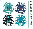 Set of elegant octopuses - stock photo